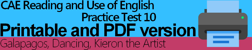 CAE Reading and Use of English Practice Test 10 Printable and PDF version