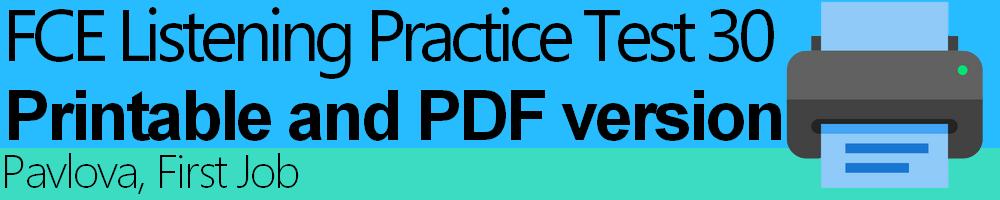 FCE Listening Practice Test 30 printable